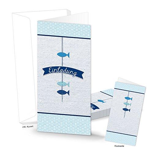10 Stück Einladungskarte EINLADUNG Karte blau weiß türkis 3 FISCHE MIT KUVERT Kommunion Taufe Geburtstag DIN-lang Kindergeburtstag Firmung Kind Erwachsene