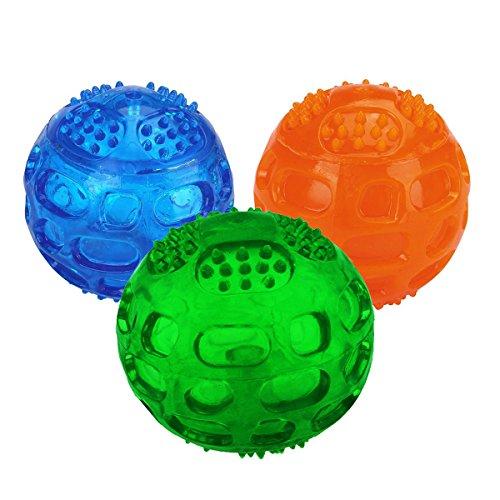 Hundeball,JULYFOX Hundespielzeug mit Quietscher Squeezz Ball aus Naturkautschuck mit Dental-Zahnpflege-Funktion Dentalball Spielball Wurfball Kauspielzeug 3 Stück (1 Blau+1 Grün+1 Orange)