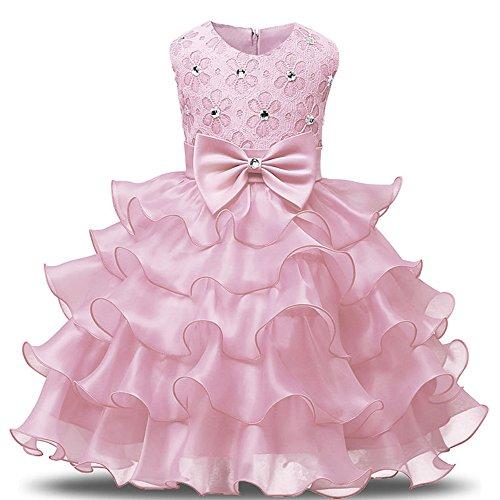 YuanYan Baby Mädchen Spitze Blume Hochzeit Pageant Prinzessin Bowknot Kommunion Party Kleid für Weihnachten / Neujahr (Fur Kleid Weihnachten)
