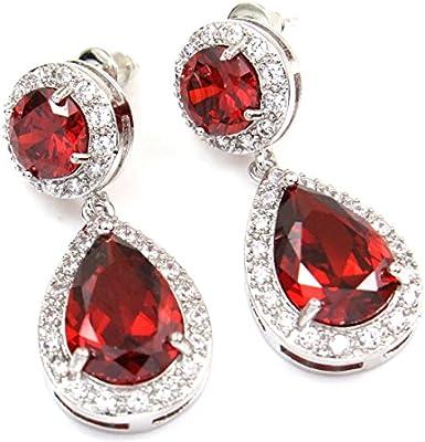 Colorfulday - Pendientes en forma de lágrima, color rojo, con circonita, para novia o boda, con tono de plata.
