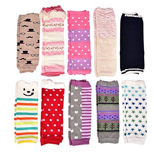 Wobon 6 Paare Kleinkind Mädchen Stulpen, Baby Mädchen Leggings Knieschützer Größe 0-1 Jahr, 1-3 Jahre (6 Paare, 0-1 Jahr)