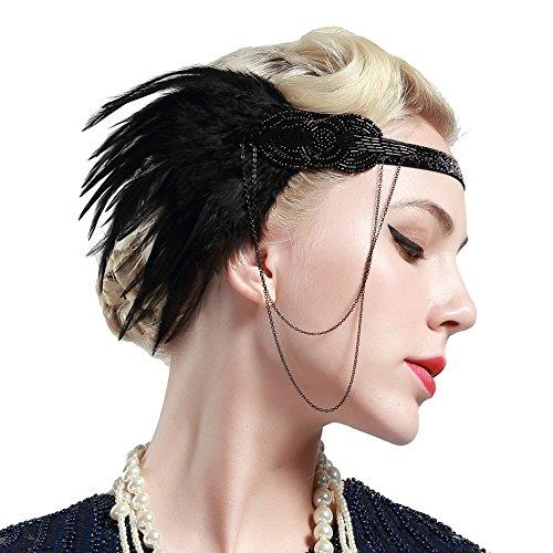 BABEYOND Damen 1920s Stirnband mit Feder 20er Jahre Stil Flapper Haarband Inspiriert von Great Gatsby Damen Kostüm Accessoires (Schwarz) - 2