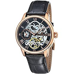 Thomas Earnshaw Men's Longitude  Automatic Watch with Black Dial Analogue Display and Black Leather Strap ES-8006-07