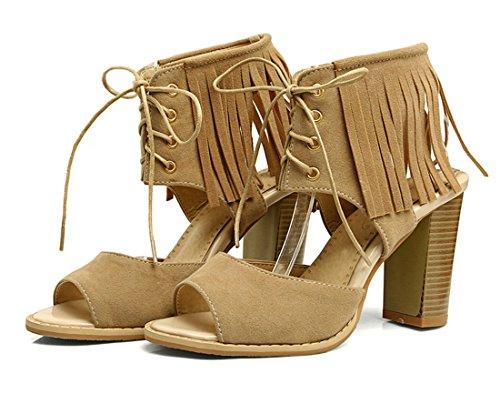 YE Damen Süß High Heels Plateau Sandalen Blockabsatz mit Schnürung und Fransen Bequem 10cm Absatz Sommer Schuhe Braun