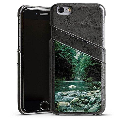 Apple iPhone 4 Housse Étui Silicone Coque Protection Fleuve Forêt Cours du fleuve Étui en cuir gris