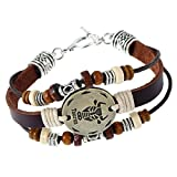 HZYSQ Douze Constellations Bracelet Bijoux Hommes Et Femmes Et Hommes Style Rétro Ange Aile Pendentif En Cuir Bracelet Multi-style Bijoux,Taurus