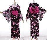 Kawaii-Story K-69 schwarz Blumen ORIGINAL Japan Damen Kimono YUKATA OBI Gürtel Baumwolle