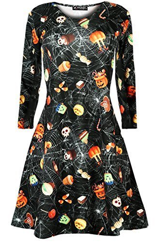 liges Damen Halloween Kürbis Spinnennetz Schläger Totenköpfe Ausgestellt Kittel Skater Swing Kleid Top - Schädel & Süßigkeiten, S/M (36/38) (Halloween Kittel)