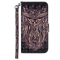 DENDICO Huawei P Smart Case, Premium 3D Design Leather Wallet Cover for Huawei P Smart, Flip Magnetic Case with Card Holder and Hand Strap - Owl