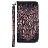 DENDICO Huawei P20 Lite Case, Premium 3D Design Leather Wallet Cover for Huawei P20 Lite, Flip Magnetic Case with Card Holder and Hand Strap  Owl