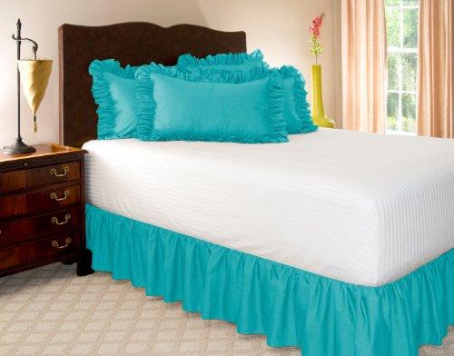Queen-size-plattform Bett (Harmony Lane gerüschte Bett Rock mit Plattform (erhältlich in allen Größen und 16Farben), baumwolle, aqua, Twin - 21