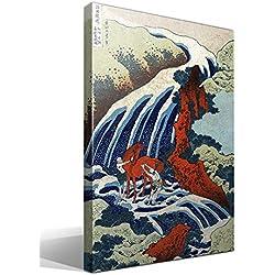 Cuadro Canvas Yoshitsune Umarai Cascada en Yoshino en Washu de Katsushika Hokusai
