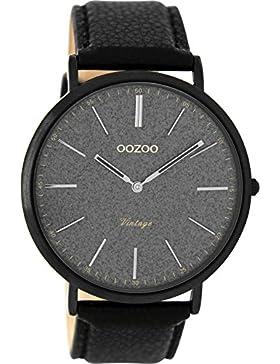 Oozoo Vintage Herrenuhr Flach Lederband 44 MM Glitzer/Schwarz C8809