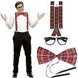NET TOYS Kit Costume Geek Set déguisement fayot quadrillé Bretelles de Pantalon nœud Papillon Lunettes Tartan Tenue Homme Nerd vêtements de Mauvais goût Accessoire Mascarade intello