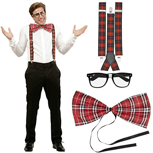 NET TOYS Nerd Kostüm Set Streber Verkleidung kariert Hosenträger Fliege Brille Schottenkaro Geek Herrenkostüm Bad Taste Outfit Streberkostüm ()