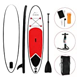 San Qing Sup Inflatable Vertical Paddle Board Surfboard Lure Fishing Boat Paddle Water Yoga Mat Kayak Conversion Paddle Paddle Unisex 10 * 2.5 * 0.3 Ft,Red