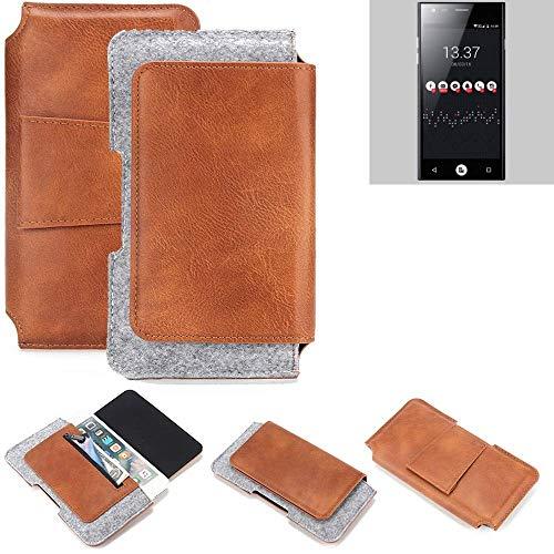 K-S-Trade® Für ID2ME ID1 Gürteltasche Schutz Hülle Gürtel Tasche Schutzhülle Handy Smartphone Tasche Handyhülle PU + Filz, Braun (1x)