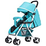 Eeayyygch Baby-Kinderwagen - Faltbarer Baby-Wagen mit 4 Rädern, leicht durchführbar, Leichter und einfacher Trolley kann sitzen und liegen, pink (Farbe : Blau, Größe : -)