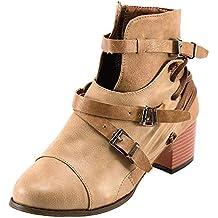 MYMYG Damen Reißverschlus Ankle Boots Frauen-Platz Ferse Schnalle Leder Stiefel  Stiefel Schuhe Round Toe 99d3a43e67