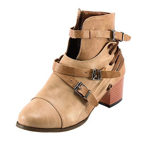 Stiefeletten Lilicat Frauen Stiefel Winter Outdoorschuhe Quadratische Ferse Schnalle Lederstiefel Stiefel Schuhe Runde Zehe Boot...
