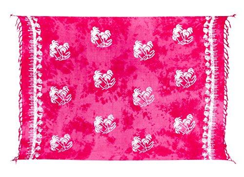Riesen Auswahl - Sarong Pareo Wickelrock Strandtuch Tuch Wickeltuch Handtuch - Blickdicht - Handbedruckt inkl. Schnalle in runder Form Palme Pink Batik