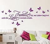 Wandtattoo-Günstig G061 Spruch Familie ist, wo das Leben beginnt und ... Liebe Schmetterlinge Wandaufkleber Wandsticker schwarz (BxH) 58 x 20 cm