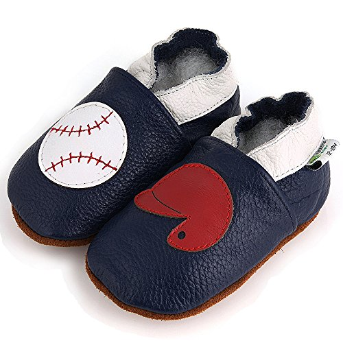 AUGUSTA BABY Baby Boys Girls First Walker Soft Sole Leather Baby Shoes - Genuine Leather Blue