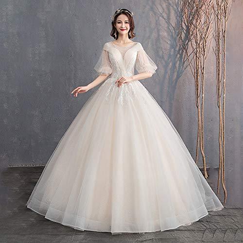 roroz Brautkleider Hochzeitskleider Prinzessin Champagner, Sexy Neckholder Brautkleid Lang Standesamt, Vintage Spitze A Linie Abendkleider Abend Party,Champagne-XL -