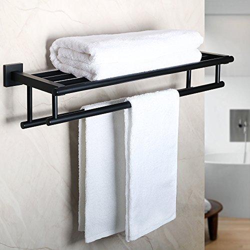 Alise gz8000-b Badezimmer WC Handtuch Rack Handtuch Regal mit Zwei Handtuch Bars Wandhalterung Wandhalter Halterung, Sus 304Edelstahl Matt Schwarz -