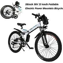 AIMADO Bicicletas Electricas de Montaña Plegables, E-bike MTB 250W 25 km/h Shimano 12 Velocidades, Aluminio, Batería de Litio 36V 8A, Ruedas Grandes de 26 ...