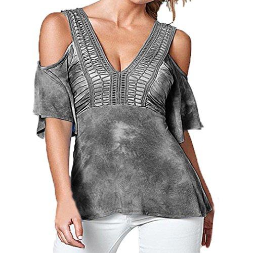 Hirolan Frau Sommer Drucken Hohl V-Ausschnitt T-Shirt Tops (Grau, XXL) (Nadelstreifen-cami Top)