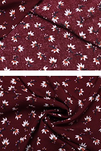 Parabler Damen Bluse V-Ausschnitt Langarmshirt Blusenshirt Langarm Tunika Lockerer Shirt Oberteil Tops Weinrot-Blumen