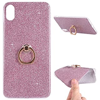 iPhone XS Max Case with Ring Support, Shiny Bling Glitter Luxury Silicone Gel Bumper Cover with Ring Kickstand Ultra-Thin Soft Protective Shell for iPhone XS Max, Pink