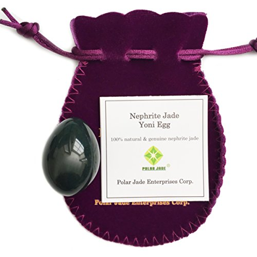 Genuine Nephrite Jade Egg, Undrilled, For Kegels To Train Pelvic Floor Muscles and for Crystal Healing In Meditation, By Polar Jade (Small (35 x 25mm))