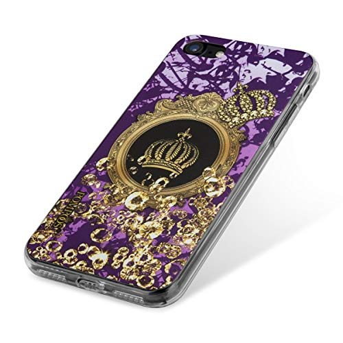 (POMPÖÖS Back-Cover für iPhone 8 und iPhone 7 Harald Glööckler Design, violett/Gold Krone)