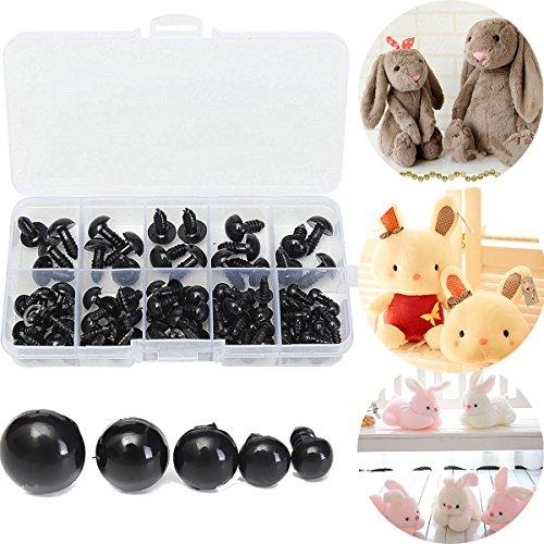 Lovinn Kunststoffaugen mit Unterlegscheiben, 100 Stück, 6-12 mm, schwarze Kunststoff-Sicherheitsaugen für Puppen, Puppen, Tierarbeiten, Stofftiere, Basteln