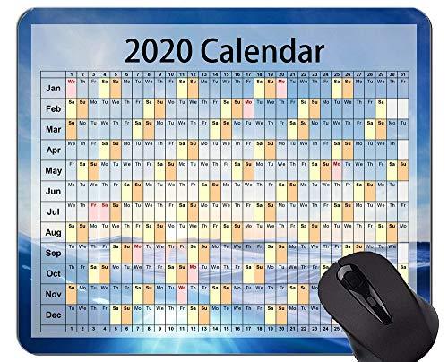 Yanteng Tappetino per Mouse da Gioco Calendario 2020 Anni Mouse Pad da Ufficio a Tema Oceano misterioso Personalizzato