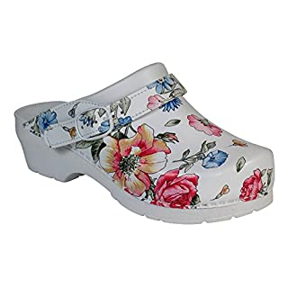 AWC-Footwear Deko-Line - Blumenmuster, Unisex Arbeitsclogs, Mehrfarbig (mehrfarbig mehrfarbig), 39 EU (6 UK)