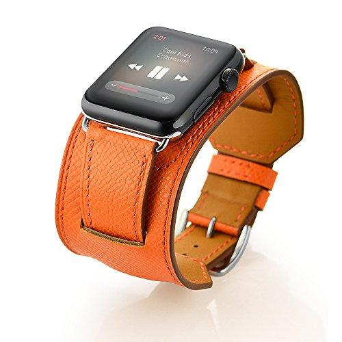 FOTOWELT for Apple Watch Band, 2016 neue Art-Stulpe Lederband -Bügel-Armband-Replacement-Handgelenk-Band mit Adapter Haken für Apple-Uhr iWatch 42mm - Orange (Handgelenk-stulpe-armband)