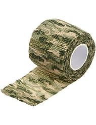 Camuflaje Militar Cinta elastico - TOOGOO(R) Cinta Sigilo elastico Wrap de Campana Ciclismo Caza Camuflaje Militar al Aire Libre Reutilizable 5CMx4.5M (Camuflaje 2)