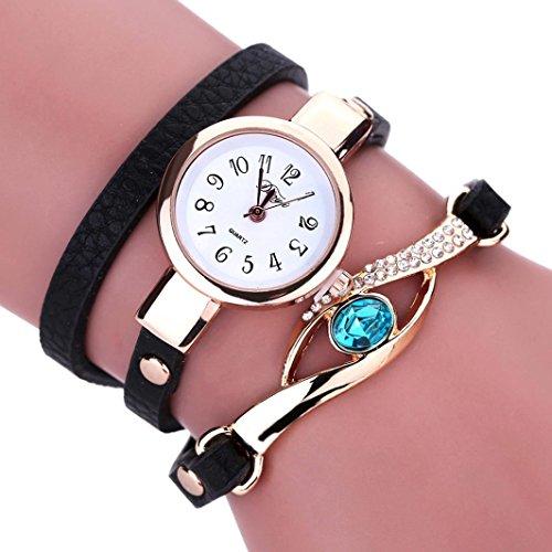 Damen Uhren, Kingwo neue Weihnachtsmode Frauen Diamant Wrap Around Leatheroid Quarz-Armbanduhr (A) (Diamant Band Wrap)