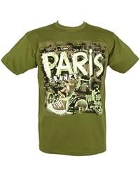 Souvenirs de France - T-Shirt Homme Paris - Couleur : Kaki