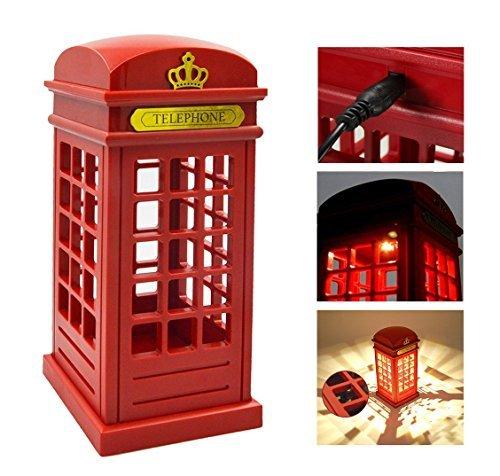 Eplze Veilleuse LED Cru Londres Cabine téléphonique capteur tactile Dimmable Lampe de table pour Accueil Bureau Restaurant Bar