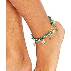 Sannysis Bohemian Damen Strand Turquoise Barfuß Fußkettchen