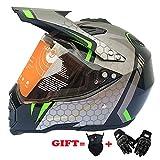 XDNB Dual Sport Motocross ATV Quad Dirtbike Motorradhelme D.O.T mit Visieren und winddichter Maske und Offroad-Handschuhen (M, L, XL, XXL),L57CM~58CM