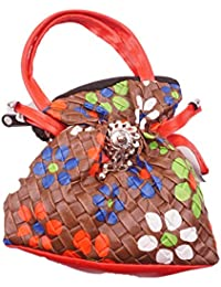 Luvit Women's Faux Leather Texture Print Handbag(One Pocket, Brown)