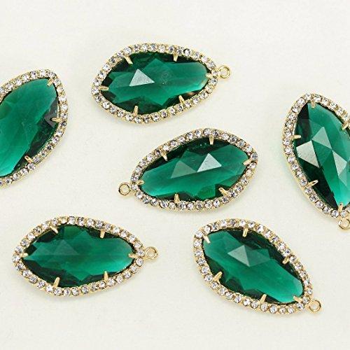 2pezzi di perline con zirconia cubica, Smeraldo Bazel vetro ciondoli perline su ottone placcato oro 16K, connettori per orecchini risultati, collana, gioielli forniture-Annielov fg-12