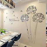 Loterong Einfache, Moderne Anlage Blume Löwenzahn Samen 3D Dreidimensionale Wandaufklebern Kreative Zimmer Restaurant Deko Aufkleber, Spiegel Silber, Richtige Richtung, Groß