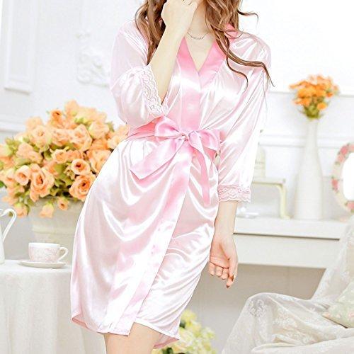 DealMux Silk Satin-Frauen-Dame-Wäsche-Robe Nachtwäsche Nachtwäsche Kimono-Kleid-Nachtkleid Rosa - Noche Kleider De