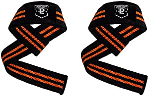 Lifting Straps From Powerlift - Lifetime Warranty - Cotton Padded Weightlifting Wrist Straps for Weightlifting, Bodybuilding, Crossfit, Strength Training, Powerlifting, MMA (Black/Orange)